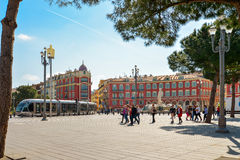 Central Square with modern high-speed tram in Nice, France Stock Photo