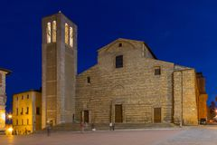 Central square in Montepulciano. At night, Italy royalty free stock photo