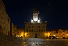 Central square in Montepulciano at night,. Italy royalty free stock images
