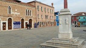 Central square and monument Baldassare Galuppi-Il Buranello-in Burano, Italy stock video