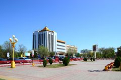 Central square near the pagoda seven days bright Sunny day.  stock photo