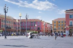 Nice, Provance, Alpes, Cote d`Azur, French, August 15, 2018; Place Massena, landmark of the town. A pedestrian square with shops. stock photography