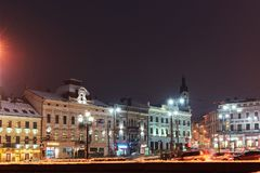 The central square in the night. Blur background of street road. Night lights on the Olga Kobylyanska street of royalty free stock images