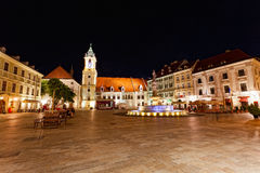 Central square at night in Bratislava, Slovakia Royalty Free Stock Images