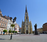 The Central Square in Novi Sad. Serbia or the freedom Square. Visible are traditional architecture, Parochial Roman Catholic Church of the name of Mary's and stock photography