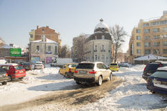 The central square in the old Pomorie, Bulgaria, winter 2017 Royalty Free Stock Images