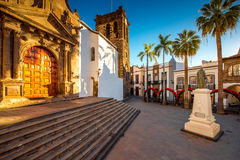Central square in old town Santa Cruz de la Palma. Central square in old town with Salvador church and monument in Santa Cruz de la Palma in Spain stock image