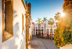 Central square in old town Santa Cruz de la Palma. Central square in old town with Salvador church and monument in Santa Cruz de la Palma in Spain royalty free stock image