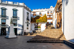 Central square in old town Santa Cruz de la Palma. Central square in old town with Salvador church and monument in Santa Cruz de la Palma in Spain stock photo