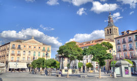 Central square in the Old Town of Segovia, Spain Stock Images