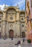 Central square with people and the Cathedral in Granada Royalty Free Stock Photography