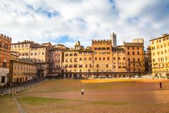 Central square Piazza del Combo  Siena  Tuscany  Italy Royalty Free Stock Images