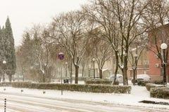 Central Square in Pomorie, Bulgaria, 31 december stock photography