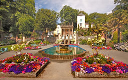 Central Square Portmeirion. The centre of Portmeirion village has an attractive square with colourful flower beds Royalty Free Stock Photo