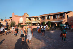 The Central Square Of Porto Cervo At Sunset Stock Photography