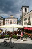 The central square of Poschiavo on the Swiss alps Royalty Free Stock Photos