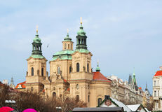The Central square in Prague. The Church of St. Nicholas. Royalty Free Stock Image
