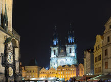 The Central square in Prague at night. Cathedral Of The Virgin Mary. Royalty Free Stock Photo