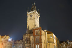 The Central square in Prague at night. Clock tower. Royalty Free Stock Photography