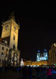 The Central square in Prague at night. Clock tower. Cathedral of St. Mary. Stock Photos