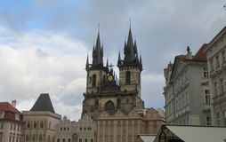 The central square of Prague - Old Town, Czech Republic. Right - the Catholic Church of the Virgin Mary with the towers of Adam and Eve. Tourism, holidays royalty free stock photos