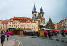 The Central square in Prague. St. Mary`s Cathedral. Royalty Free Stock Photography