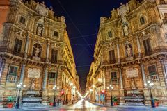 Central square Quattro Canti in Palermo, Italy. Royalty Free Stock Image
