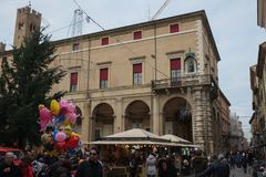 Central square of Rimini, Italy stock photo