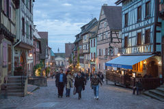 Central square in Riquewihr town, France Royalty Free Stock Photos