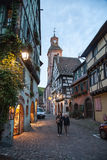 Central square in Riquewihr town, France Royalty Free Stock Images