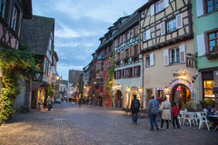 Central square in Riquewihr town, France Stock Image