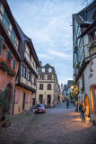 Central square in Riquewihr town, France Stock Photos