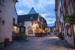 Central square in Riquewihr town, France Stock Images
