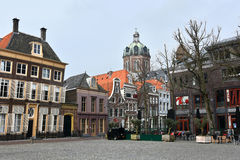 Central square Roode Steen. Historical buildings at the central square, Roode Steen, in Hoorn, Netherlands. Hoorn was founded in the year 716 and became stock photo