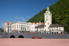 The central square in Rosa Khutor, Sochi Royalty Free Stock Photography