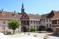 Central square in Rosheim, Alsace, France Stock Photos