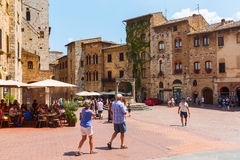 Central square of San Gimignano, Tuscany, Italy Stock Images