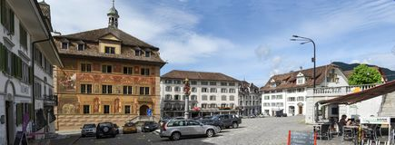 The central square of Schwyz on Switzerland. Schwyz, Switzerland - 11 July 2017: the central square of Schwyz on Switzerland stock images