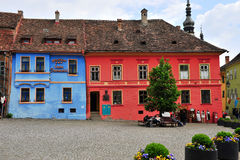 Central square of Sighisoara old town, Romania Royalty Free Stock Image