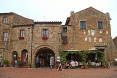 Central square of Sovana, a medieval village in Grosseto provinc Royalty Free Stock Image