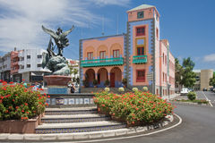 Central square of Tazacorte at La Palma Island, Canary Islands Spain Royalty Free Stock Photography