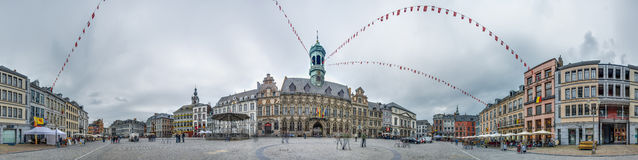 The central square and town hall in Mons, Belgium. Royalty Free Stock Photo