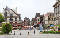 Central square in town Troyes, France Royalty Free Stock Photography
