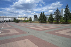The central square of Ulan-Ude with an unusual monument to Lenin Stock Photos
