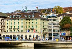 Central Square in Zurich, Switzerland. Zurich, Switzerland - 25 October, 2017: people and buildings on Central Square in the city of Zurich. Central Square is a royalty free stock photos