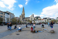 The central squares of Antwerp. Stock Photos