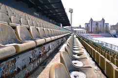 Central stadium. Winter stadium with old stand in Lipetsk, Russia royalty free stock photography