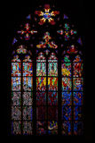 Central stained glass church of St. Vitus in the Czech Republic Stock Image