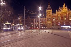 Central Station in Amsterdam the Netherlands. At night Royalty Free Stock Photo