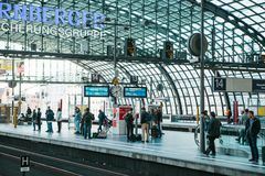 Berlin, 03 October 2017: The central station is called Berlin Hauptbahnhof. People are waiting for the train on the Stock Photography